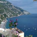 view over positano walking up the stairs from Spiaggia del Fornillo to the Pensione Maria Luisa