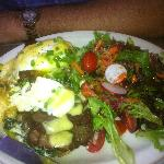 "Steak and goat cheese ""benedict"""
