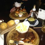 L'il Burgers & Southern tasting platter with Cornbread and Mac & Cheese sides...