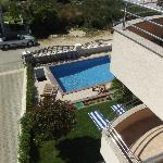 View down to the pool