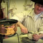 Preparing Christmas puddings - the traditional way.