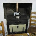 wood stove in room