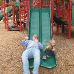Slide racing at the playground