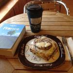 Fresh & Hot Coffee & Cinnamon Roll -- YUM!