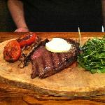 rump steak with horseradish butter, wild mushrooms etc