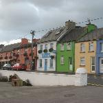 Main road through Portmagee with Moorings Guesthouse in the background