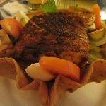 Blackened fish taco salad