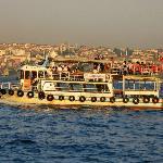 ferry near bridge