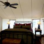 inside glamping tent
