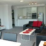 Lounge , & open plan kitchen.