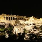 Night view of Acropolis from Hotel Plaka roof terrace