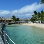 Beach area and overwater bungalows