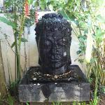 Pool side statue