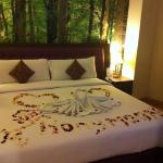 our honeymoon decoration from hotel.. love it..!!