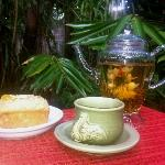 Enjoying a blossom Tea in the rainforest dining