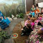Gather the children for a nighttime story with Nokomis, a storytelling grandmother in the lobby.