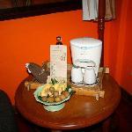 welcome fruits and coffee machine