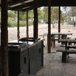 Barbecue area, with a selection of built in and stone tables