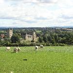 Looking back at Helmsley Castle on the hike to Rievaulx