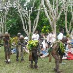 Village de Santo Team serving us whilst enjoying the performance by the Warrior Men & Water Ladi