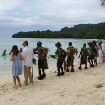 Water Ladies & Warrior Men at Lonnoc Beach organised by Bev getting our guests involved.