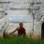 Monk outside a pagoda on Inle Lake