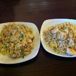 Vegetable Fried Rice and Shrimp Fried Rice