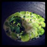 Cooked fava beans and beach herbs