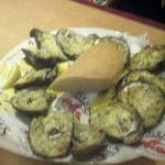 Oysters in half shell cooked on open fire!