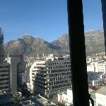 An obscure view of Table Mountain from the room