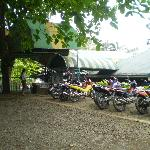 Motyorcycle parking next to entrance