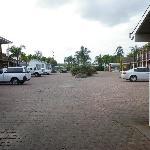 car park, rooms surrounding.