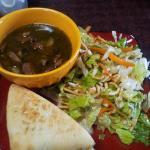 16 bean spicy soup, asian salad and 1/2 muffulleta