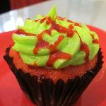 Strawberry cupcake, coconut cream filling, key lime icing and strawberry sauce - all vegan!