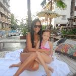 Poolside shot of wife and daughter. Bring your own pillows!