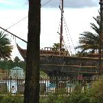 great pool area with pirate ship for families