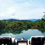 Infinity pool with stunning views of the surrounding mountains