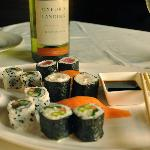 Assorted Sushi Plater with choice of wine.