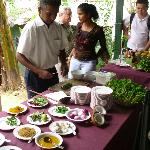 Small cooking demonstration using our own spices for tourists