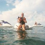 Alison with sea stars on her jetski!