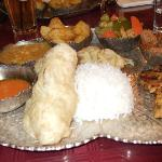 Nepalese Thali with steamed momo