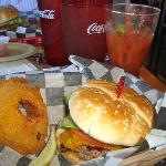 Hueyburger with rings & bloody mary's