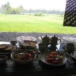 Breakfast overlooking rice fields