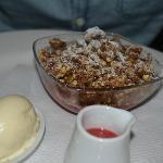 Apple & Rasberry Crumble with ice cream