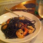 black ink pasta with shrimp