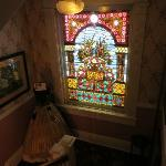 Amazing stained glass in stairway