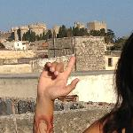 hmm..I think that may be the Palace of the Grand Masters that I'm pointing at. View from Roof Ga