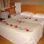Welcoming bed first night - no not honeymooners!