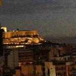 View of the Acropolis at dusk, as seen from our balcony