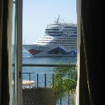 Close up views of cruise liners - taken from my bed!